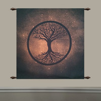Tree of life tapestry hand painted