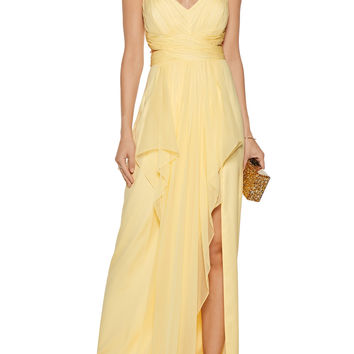 Draped silk-chiffon halterneck gown | Marchesa Notte | US | THE OUTNET