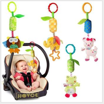 ONETOW Infanty Newborn Baby Rattles Toys 0-12 Month Baby Cute Soft Animal Hanging Bed Safety Seat Plush Doll Mobiles Puppet