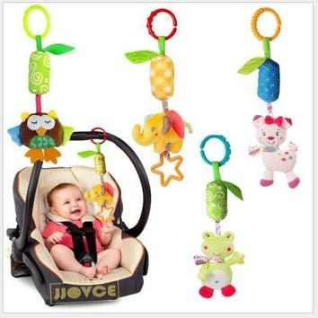 VONL8T Infanty Newborn Baby Rattles Toys 0-12 Month Baby Cute Soft Animal Hanging Bed Safety Seat Plush Doll Mobiles Puppet