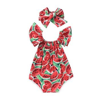 newborn baby rompers summer toddler girls watermelon romper + bow headwear outfit sunsuit baby girl clothes vestidos mujer