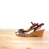 Vintage Woven Leather Sandal / Tan Wedges / Brown Strappy Sandals / Womens Bass Shoes / Ankle Strap / Open Toed Wedges / Boho Wedges 9.5 M