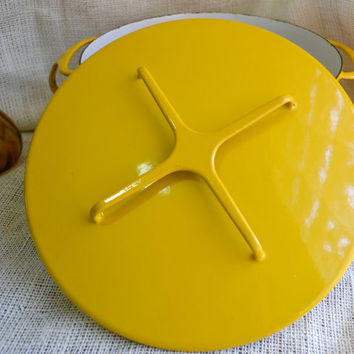 Large Dansk Kobenstyle Dutch Oven// large vintage stock pot // Bright Yellow Dansk pot