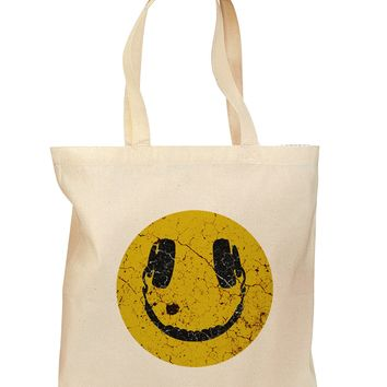 EDM Smiley Face Grocery Tote Bag - Natural by TooLoud