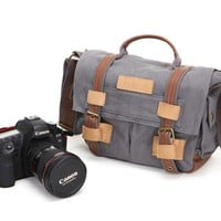 Waxed Canvas DSLR Camera Messenger Bag, Diaper Bag - Medium
