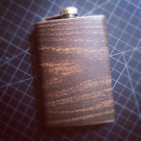 Dark Wood Walnut Woodgrain Stainless Steel Hip Flask
