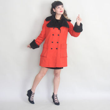 1960s RED COAT | Vintage 60s Faux Fur & Canvas Double Breasted Coat | m