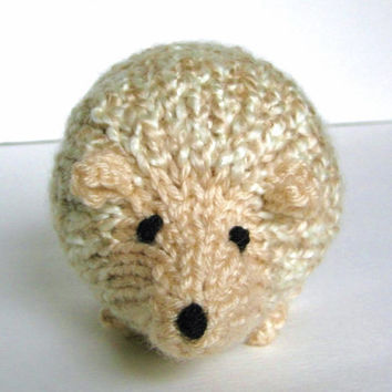 "Little Hand Knit Hedgehog Toy, Ready To Ship, Woodland Animal Stuffed Toy Knit Toy Stuffed Animal Porcupine Woodland Nursery 4 1/2"" Long"
