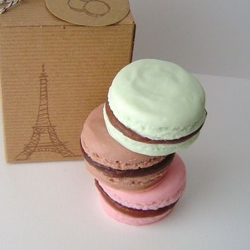 French Macaron Gift Set - Dark Chocolate, Raspberry Chocolate and Mint Chocolate Scented - Goat's Milk Soap - Gift Set - Christmas - for Her