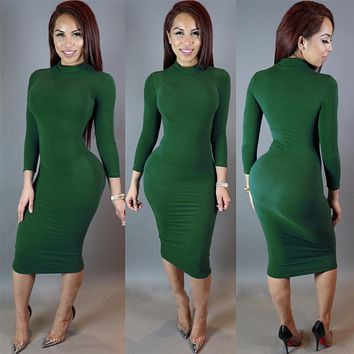 S M L XL XXL Sexy Club Long Sleeve Winter Multicolor Dress Turtleneck Black Thick Warm Vestidos Casual Bandage Bodycon Party Dresses