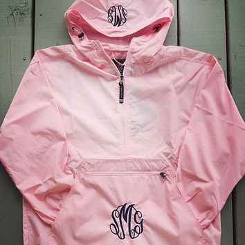 Monogrammed Half Zip Light Weight Pullover Rain Jacket