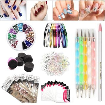 Nail Art Set Tape Line Nail Stickers, Colored Rhinestones Decoration 45 Sheets Nail Art Stickers Gradient Nails Sponges for Color Fade Manicure, Dotting Marbleizing Pen for Pedicure