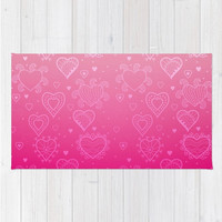 Pink Area Floor Rug Hearts Pink Ombre Light To Bright Pink Love Valentines Throw Woven Rectangle Modern Home Decor
