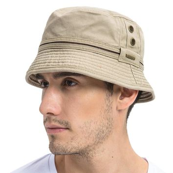 VOBOOM Summer Khaki Bucket Hat Men Plain Solid Wide Brim Twill Cotton Boonie Giggle Hats Eyelets Sun Cap Panama Fishing Caps 102