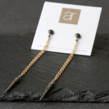 Pave Diamond Spike Earrings