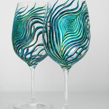 Peacock Wine Glasses--Set of 4 Hand Painted Wine Glasses