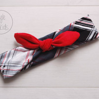 Checkered Top Knot Headband with Blood RED Bow Headband Knot Toddler Headband Head Wrap Baby Bow Headband Newborn Knot Headband