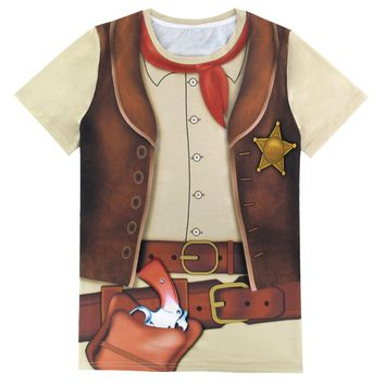 Men 3D T Shirt Adult Man Cowboy Sheriff Police Captain Cosplay Halloween Gentleman Party Costume Clothing Top Summer
