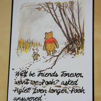 Classic Winnie the Pooh Quote Print A5 Friends Forever