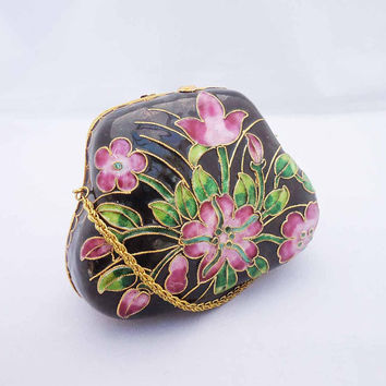 Vintage Cloisonne Purse, Enamel Purse, Cloisonne Blue Enamel Shell Purse, Cloisonne Clutch, Vintage Purse