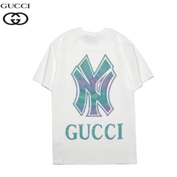 GUCCI & NY New fashion reflective letter couple top t-shirt White