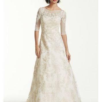 Oleg Cassini 3/4 Sleeve Lace Wedding Dress - Davids Bridal