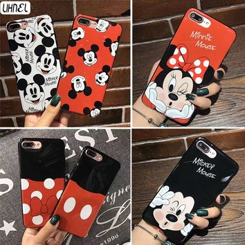 LIHNEL Cute Mickey Minnie Mouse Head Body Pattern Shockproof IMD TPU Back Shell Cover for iPhone X 6 Plus 6 6S 7 7Plus 8 8Plus