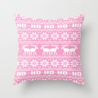 Ho Ho Ho Pink Ugly Xmas Sweater Pattern Throw Pillow by RexLambo