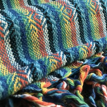 Mexican Rebozo Shawl - Blue Rainbow
