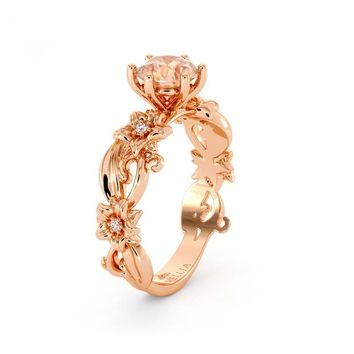 Morganite Engagement Ring 14K Rose Gold Ring Unique Flower Ring