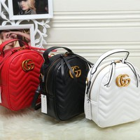 Gucci Women Fashion Leather Backpack Bookbag