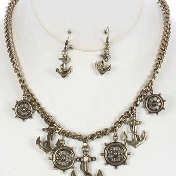 Aged Finish  Nautical Charm Chain Anchor Shipwheel Link Necklace Earring Set