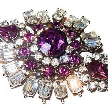 Purple Ice Rhinestone Brooch Tiered Baguettes Silver Metal Designer Pin Vintage
