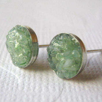 Crushed Glass Studs, Crushed Glass Jewelry, Stained Glass Studs, Jade Green Earrings
