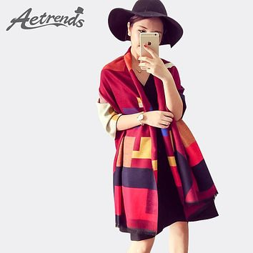 [AETRENDS] Luxury Brand Scarf Women Plaid Cashmere Scarves Cape Pashmina Z-1661