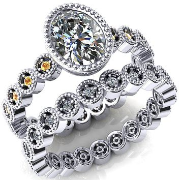 Borea Oval Moissanite Full Bezel Milgrain Yellow Sapphire Accent Full Eternity Ring