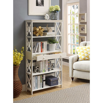 Convenience Concepts Oxford 5 Tier Bookcase With Drawer, White 203051W | Bellacor
