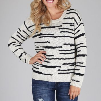 White-Black-Printed-Knit-Sweater