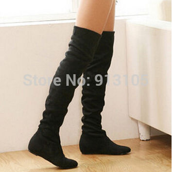 2016 promotion sale medium(b,m) motorcycle boots flat bottom low heel over the knee thigh high women boots for summer,plus size