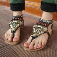Cute Bohemian Style Beaded Flat Sandals for Summer