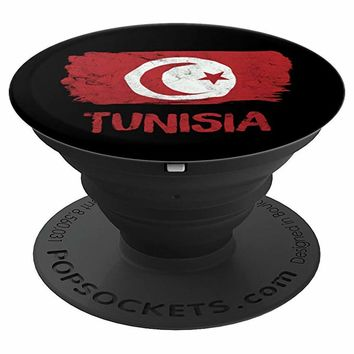 Tunisia Vintage Flag Tunisian Roots Family Pride Fan Gift - PopSockets Grip and Stand for Phones and Tablets