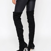 Truffle Collection Over The Knee Boot with Clear Heel