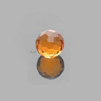 Champagne Quartz Football Cut Faceted Loose Gemstone Round 15mm AAA Grade, Calibrated Cabochons - 1 Pcs.