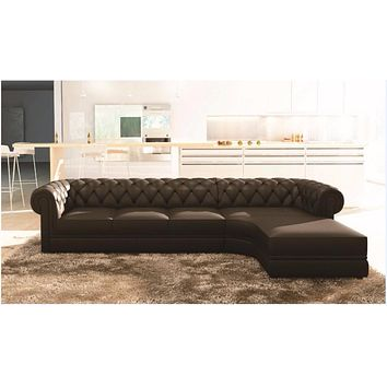 Chesterfield - Luxury Black Upholstered L-Shaped Sofa - D