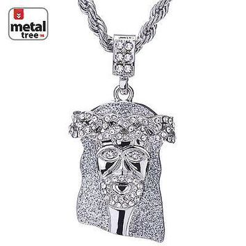 """Jewelry Kay style Hip Hop Men's Rhodium Plated Iced Out CZ Jesus Pendant 24"""" Rope Chain HC 102 S"""