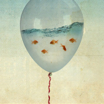 balloon flying fish art print by vin zzep from society6