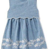 2-in-1 Embroidered Chambray Dress for Girls
