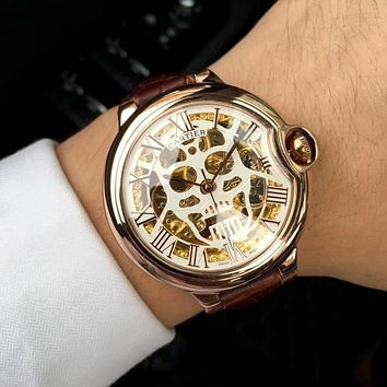 DCCK C020 Cartier Skull Hollow Automatic Machinery Leather Watchand Watches Maroon Rose Gold