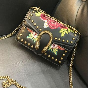 Kalete Gucci Stylish Rose Embroidery Rivet Metal Chain Lock Buckle Leather Inclined Shoulder Bag Satchel High Quality Black