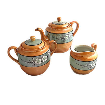 Antique Lustreware Tea Serving Set 1920-1930's, Made in Japan Hand Painted Lusterware Porcelain Teapot Sugar Bowl Creamer Cherry Blossoms
